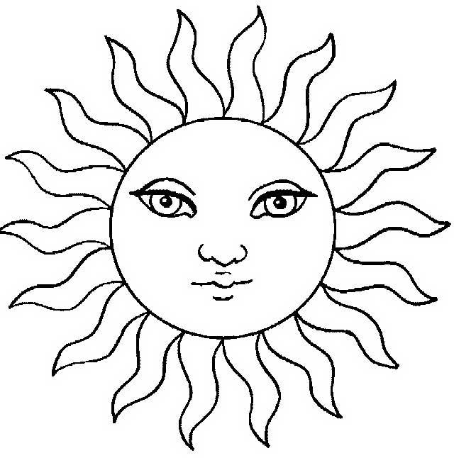 Солнце картинки для детей раскраски 008
