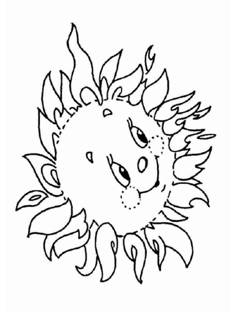Солнце картинки для детей раскраски 011