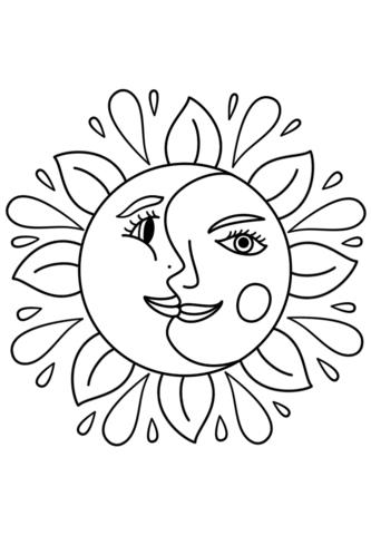 Солнце картинки для детей раскраски 017