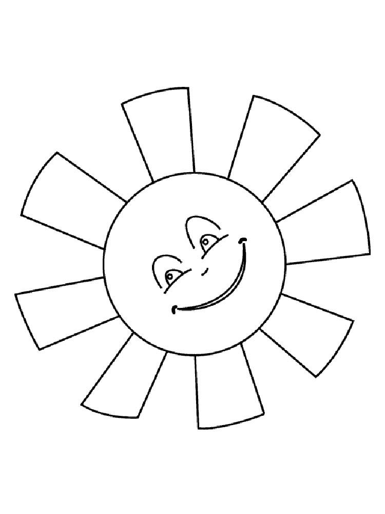 Солнце картинки для детей раскраски 020