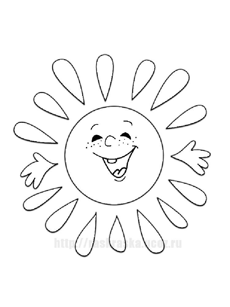 Солнце картинки для детей раскраски 021