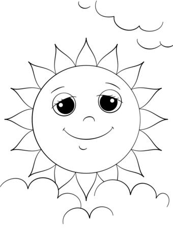 Солнце картинки для детей раскраски 022