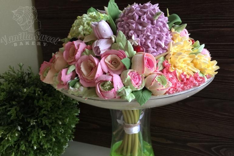торт ваза с цветами фото широкий конец теста