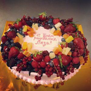 Торт на День Рождения с фруктами   фото (19)