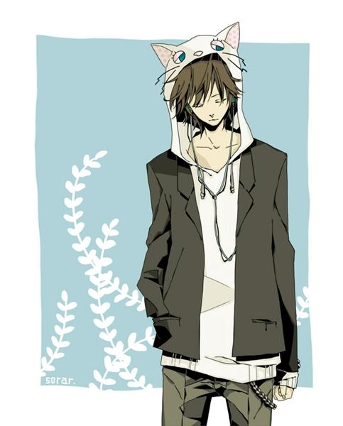 Фото аниме парней с наушниками и капюшоном   картинки010