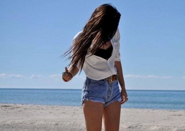 Фото девушек в джинсовых шортах и майках   подборка (13)