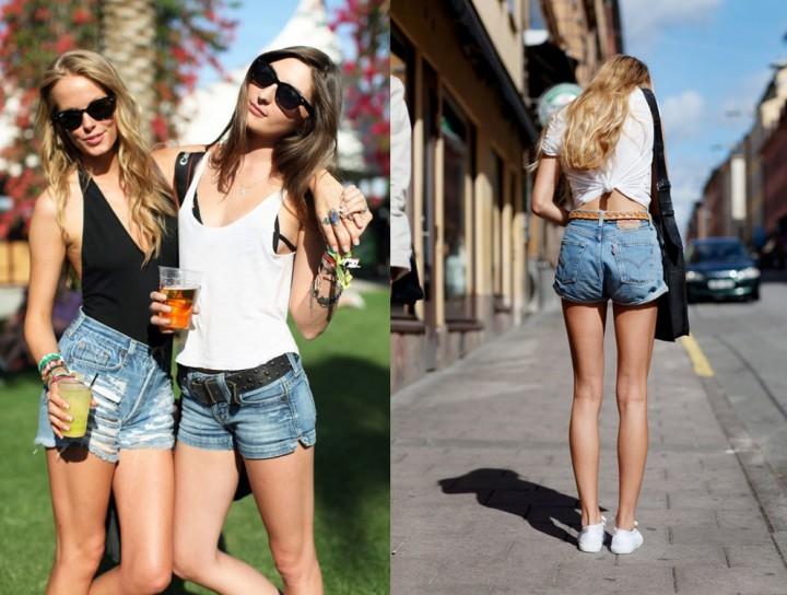 Фото девушек в джинсовых шортах и майках   подборка (14)