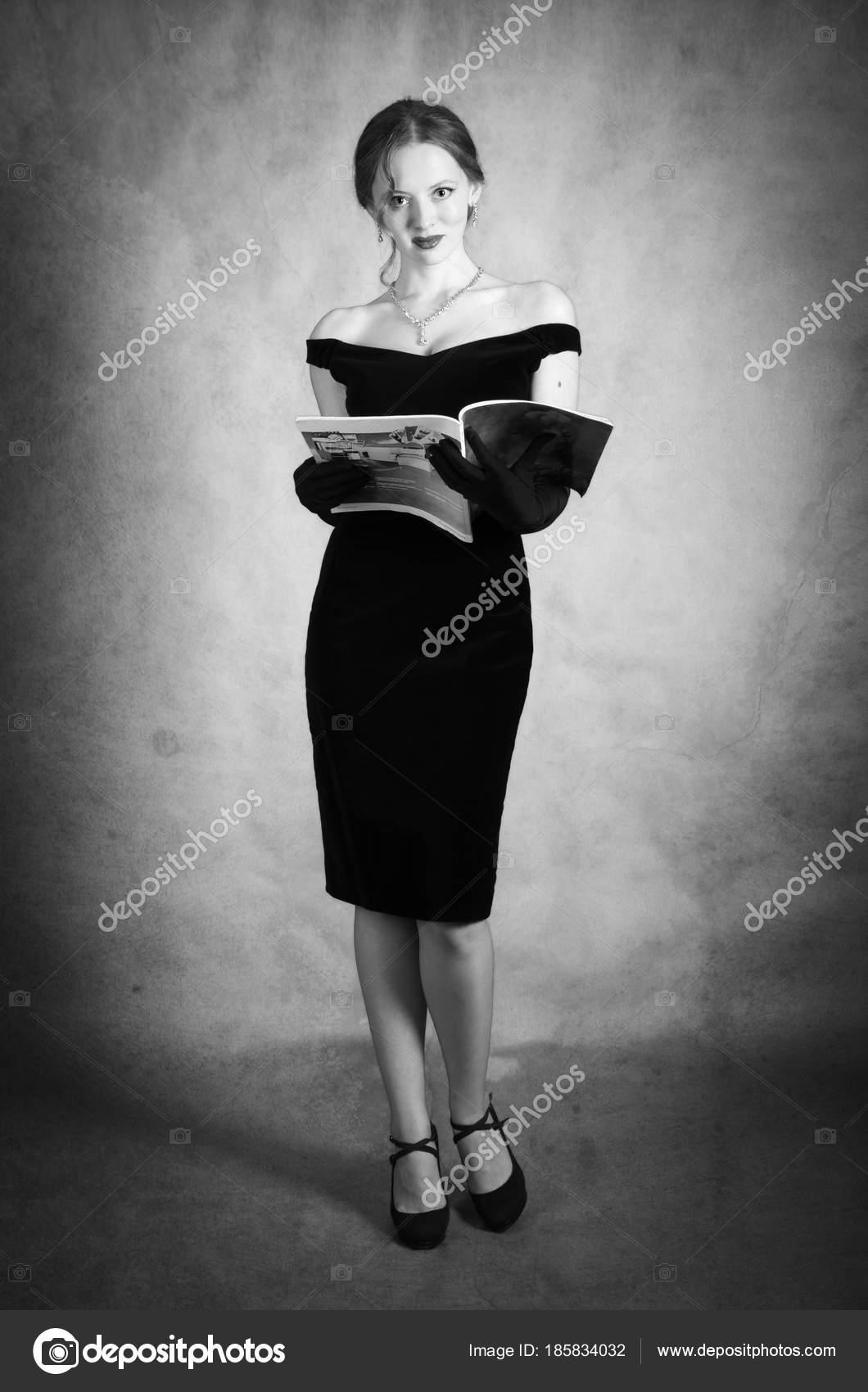 Фото девушка в платье черно белое   картинки (22)