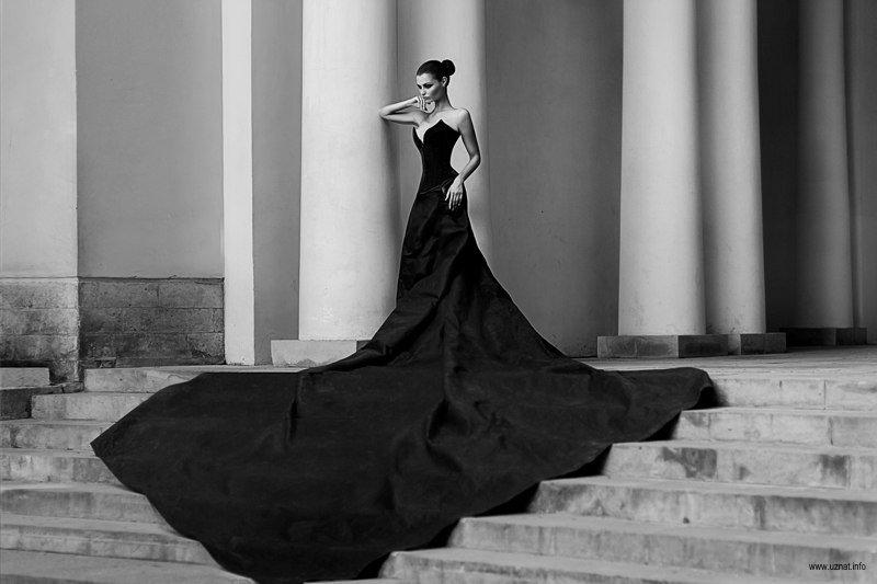 Фото девушка в платье черно белое   картинки (6)