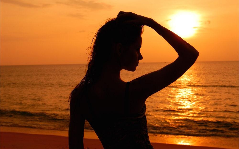 Фото девушка и закат солнца   подборка 013