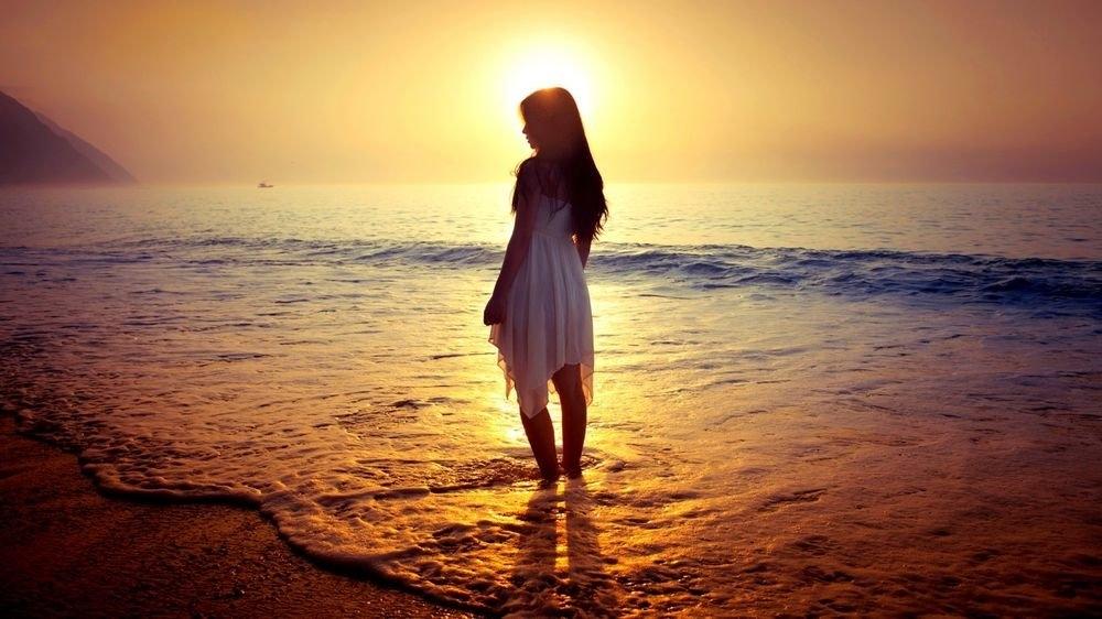Фото девушка и закат солнца   подборка 020