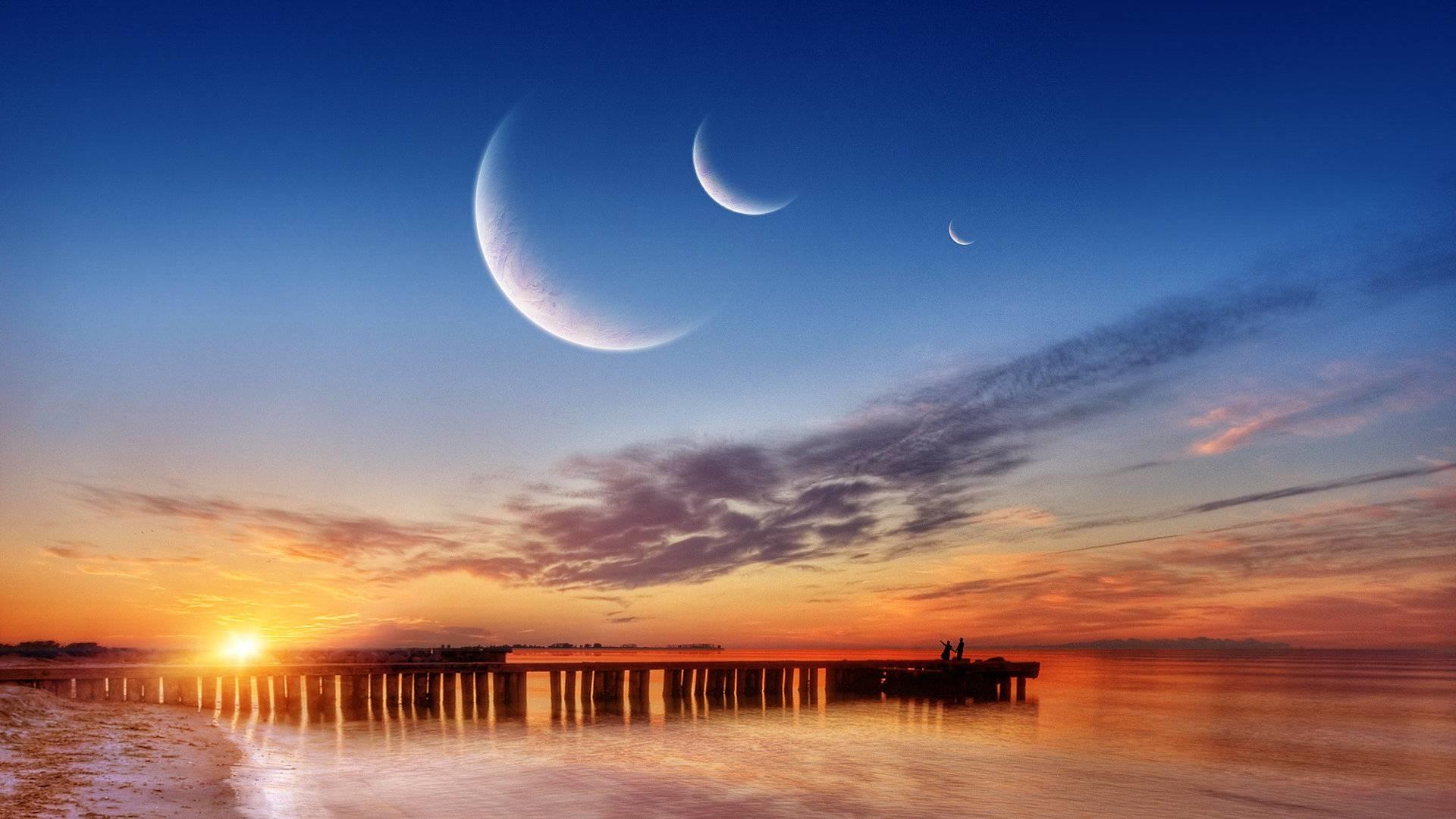 картинки луны или заката на небе контрастности объёма