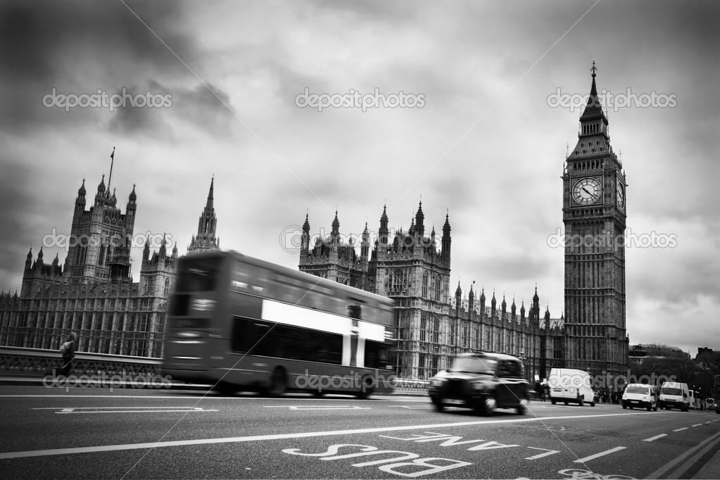 Черно белое фото Биг Бен 009