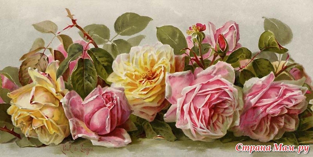 Винтажные картинки цветы для декупажа   рисунки015