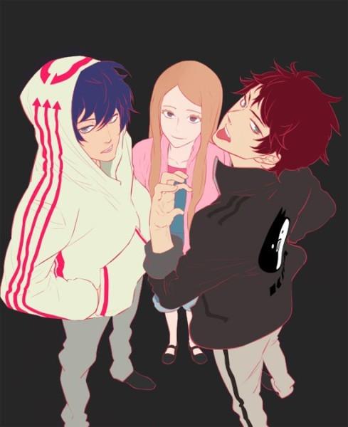 Два парня и девушка аниме   арты020
