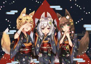 Картинки аниме девушки кролики   красивые008