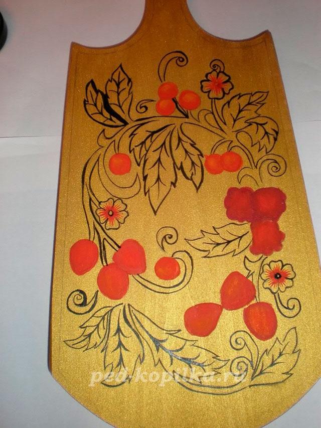 Картинки разделочная доска хохлома   рисунки012