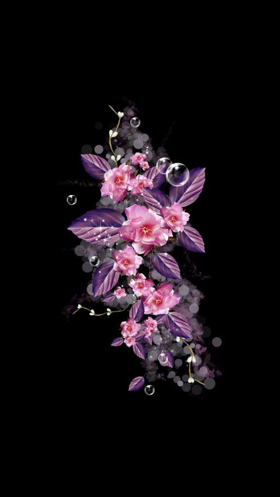 Вертикальные картинки цветы на черном фоне