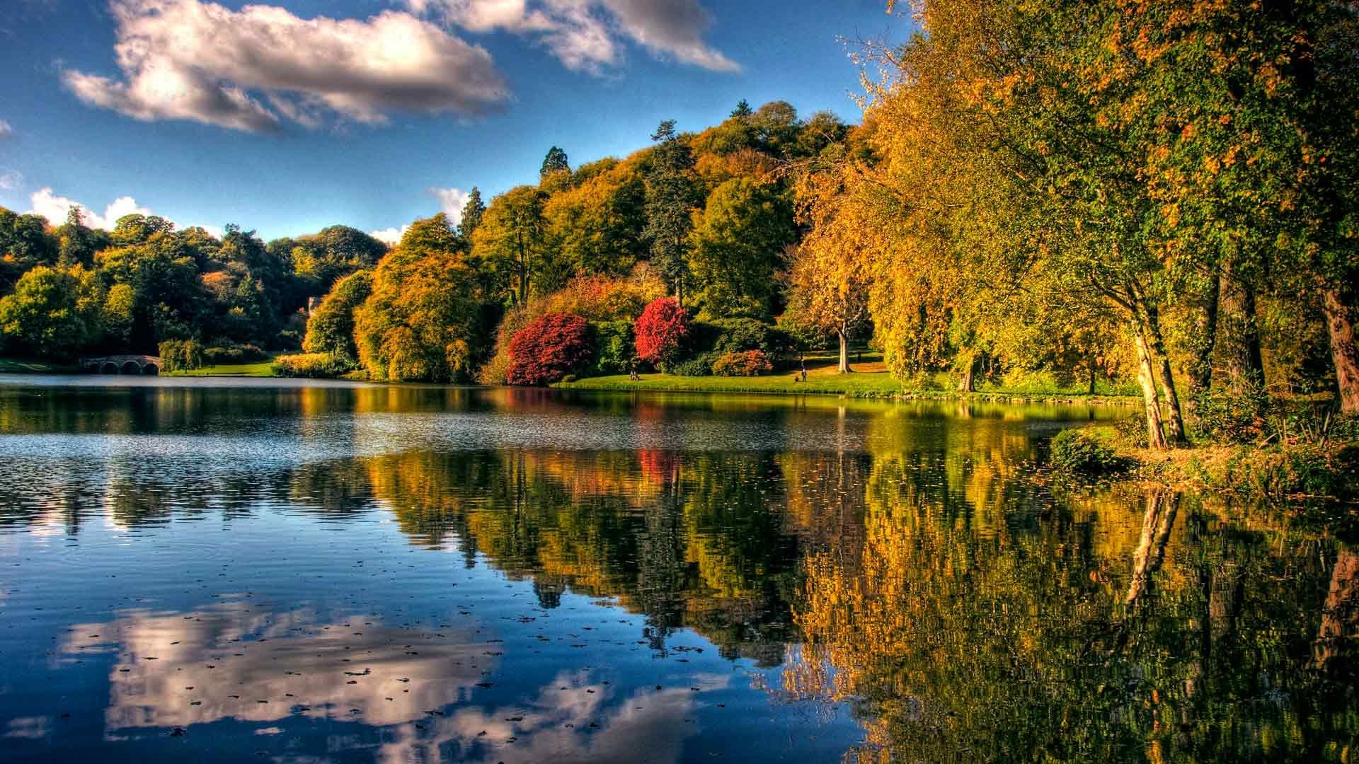 Обои для рабочего стола осень в парке - красивые фото
