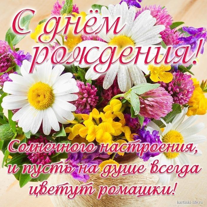Поздравления с днем рождения с ромашками картинки   очень красивые010