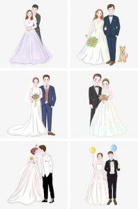 Рисованные картинки жениха и невесты   красивые020