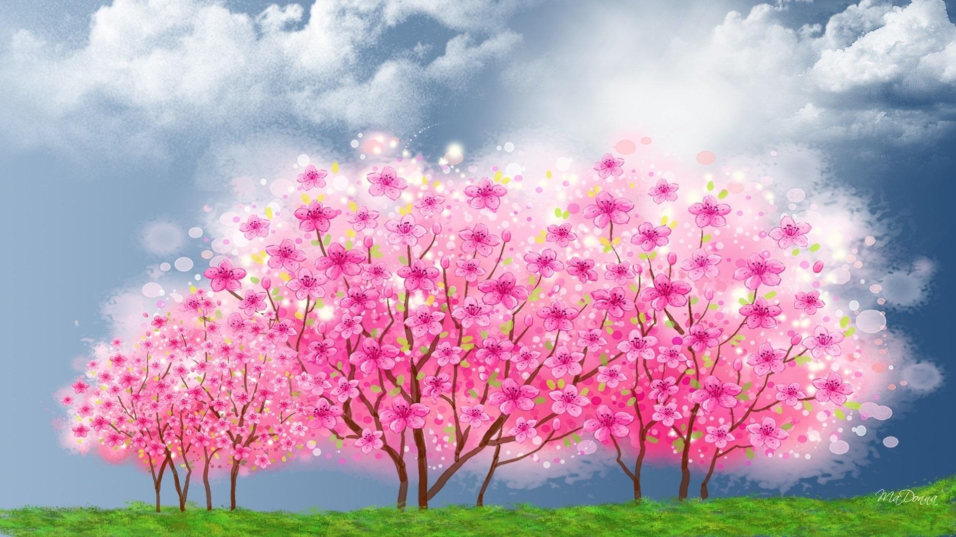Открытка дерево с цветами, открытки