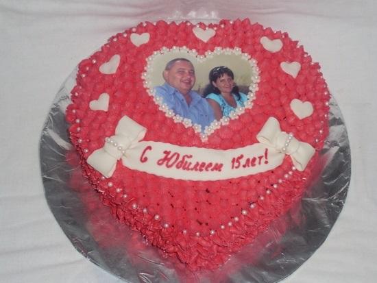 Торт на 15 годовщину свадьбы   красивый012