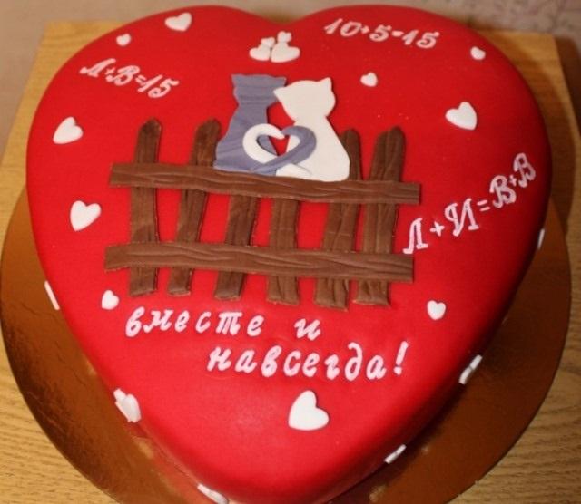 Торт на 15 годовщину свадьбы   красивый013