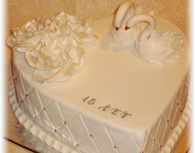 Торт на 15 годовщину свадьбы   красивый015