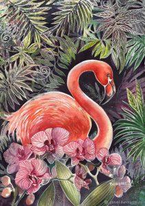 Фламинго живопись красивые картинки024