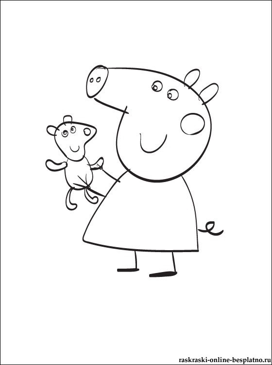 Черно белые картинки свинка пеппа   рисунки003