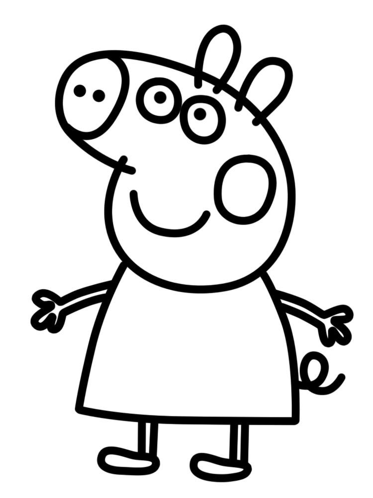 Черно белые картинки свинка пеппа   рисунки004