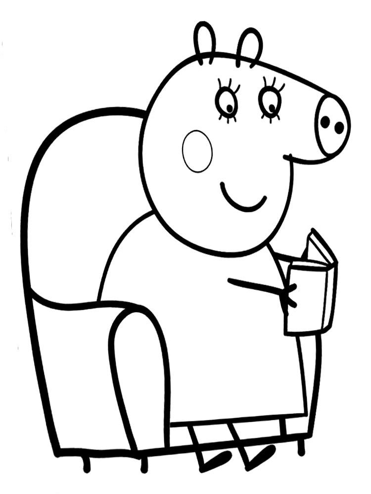 Черно белые картинки свинка пеппа   рисунки010