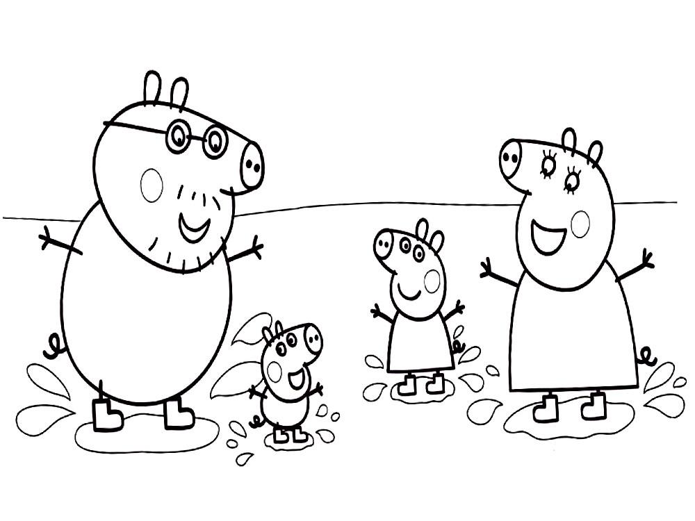 Черно белые картинки свинка пеппа   рисунки012
