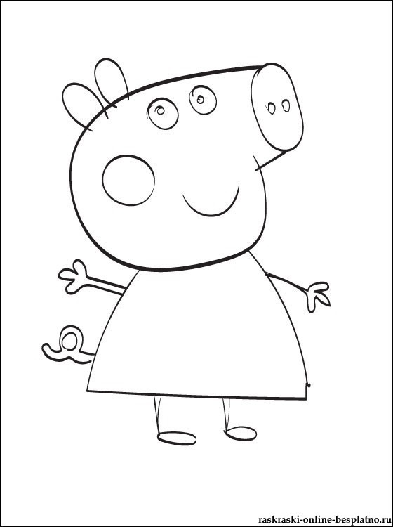Черно белые картинки свинка пеппа   рисунки018