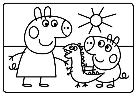 Черно белые картинки свинка пеппа   рисунки020