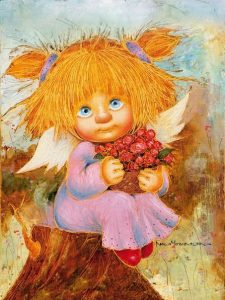 Ангел картина маслом027