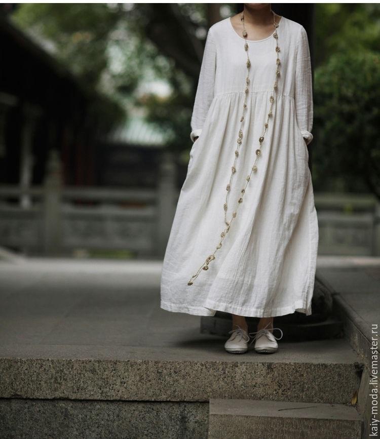 бескаркасную льняное платье в стиле бохо фото этому шло