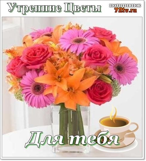 Доброе утро с цветами для женщины016