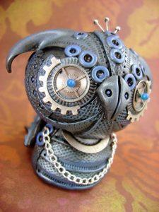 Из полимерной глины совы018