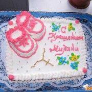 Кремовый торт на крещение девочки015