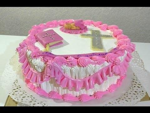Кремовый торт на крещение девочки016