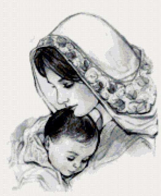 Мать и дитя схемы вышивки001