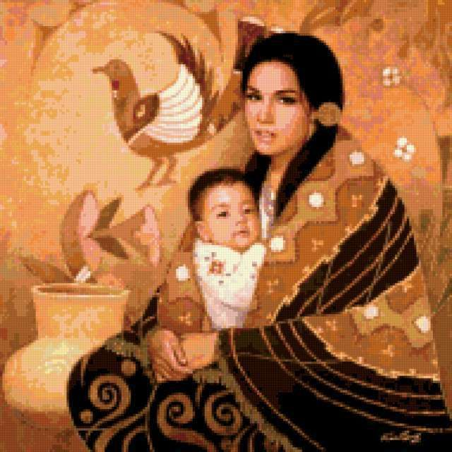 Мать и дитя схемы вышивки002