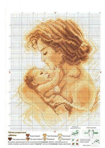 Мать и дитя схемы вышивки012
