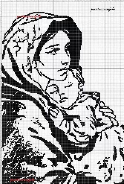 Мать и дитя схемы вышивки022
