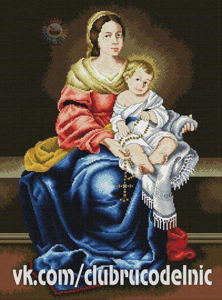 Мать и дитя схемы вышивки035
