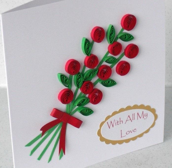 Днем, открытка своими руками маме на день рождения из квиллинга