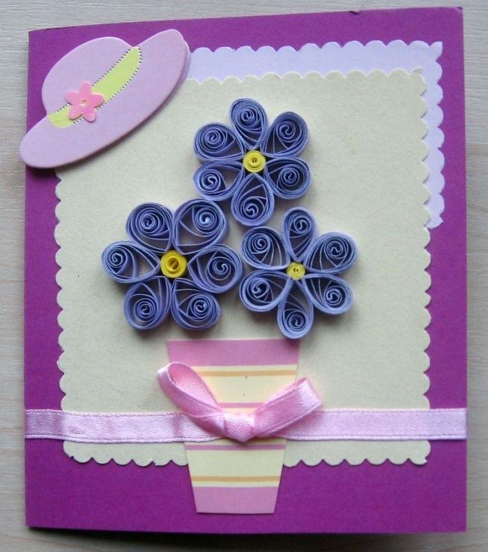 открытка из квиллинга на день рождения с цветами отметил