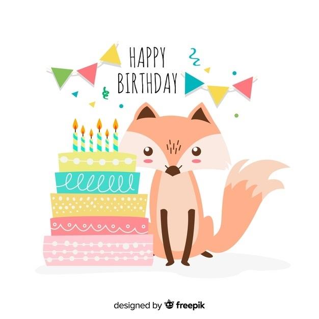 Лиса открытка с днем рождения